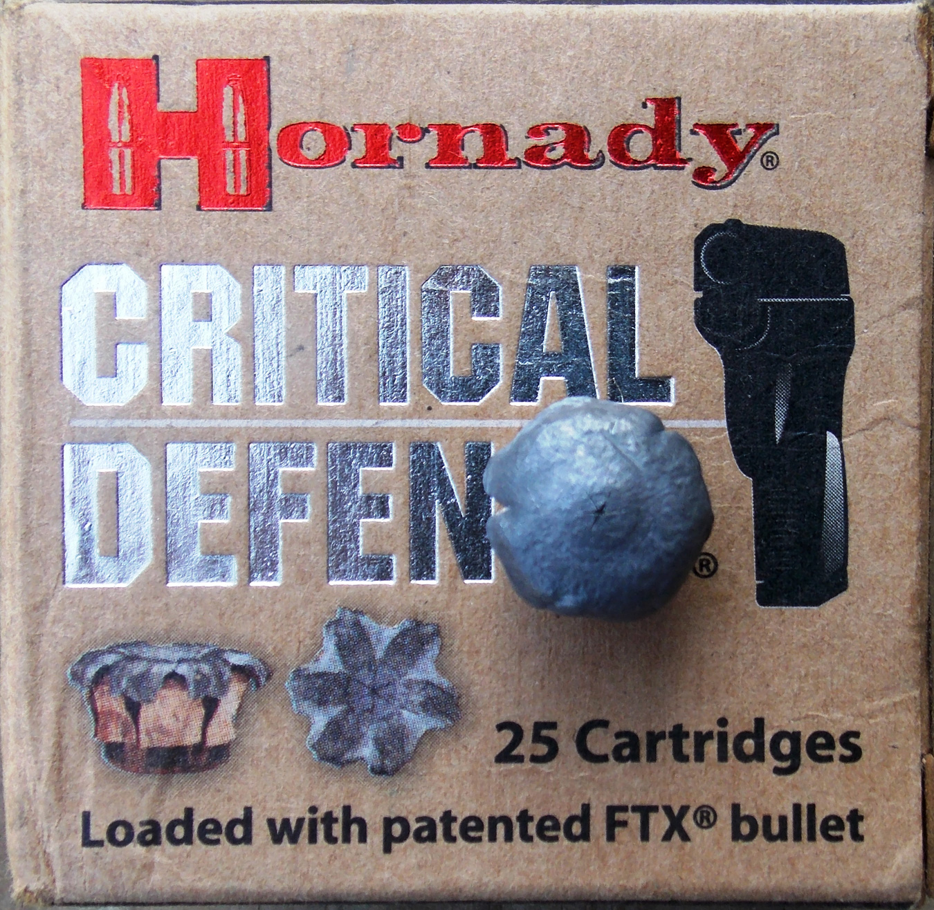Hornady Critical Defense ammunition box with upset bullet