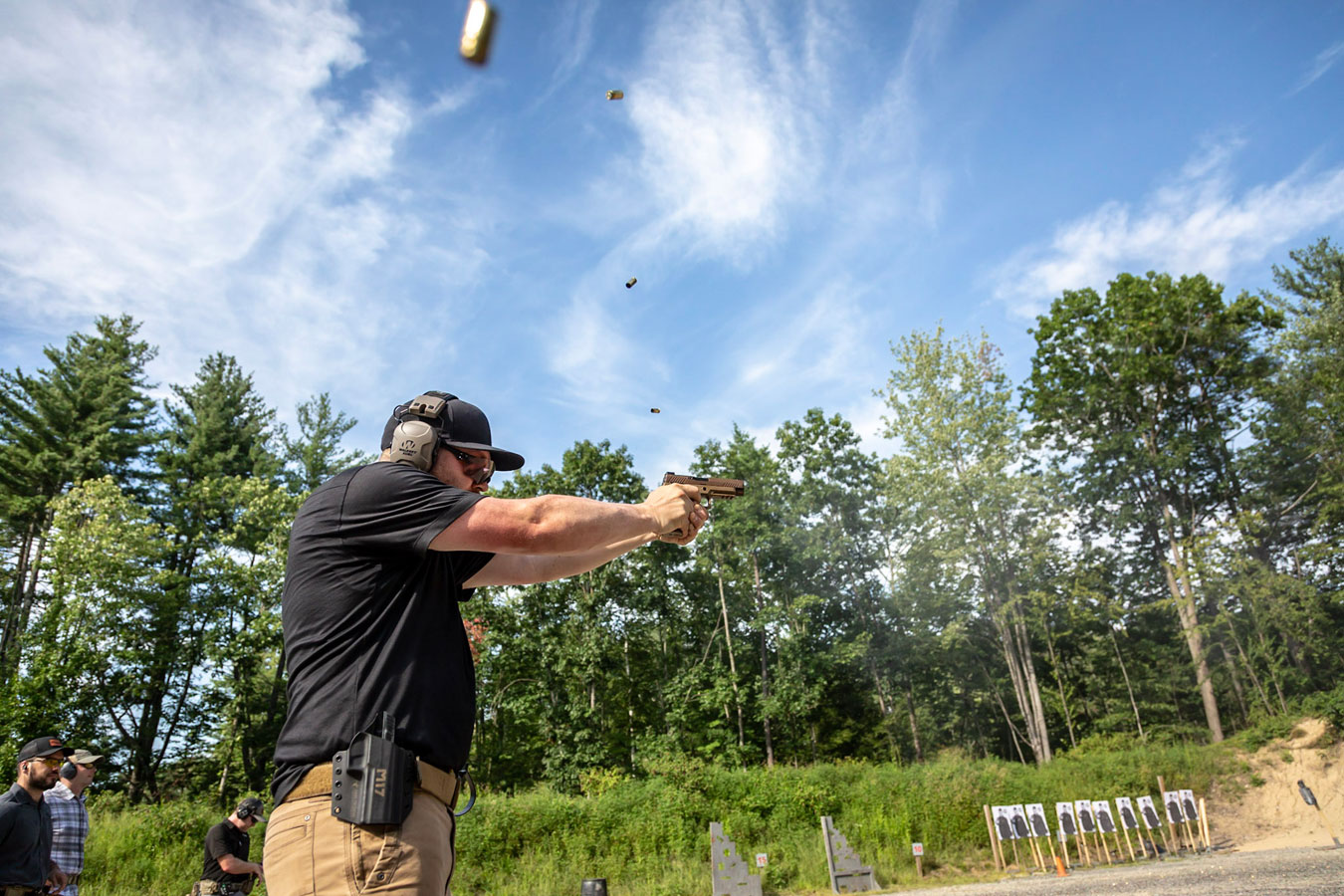 Locked two handed grip shooting a pistol