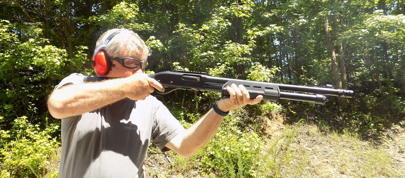 Bob Campbell shooting a shotgun quickly