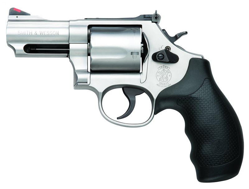Smith and Wesson Model 69 Combat Magnum left profile with black rubber grips