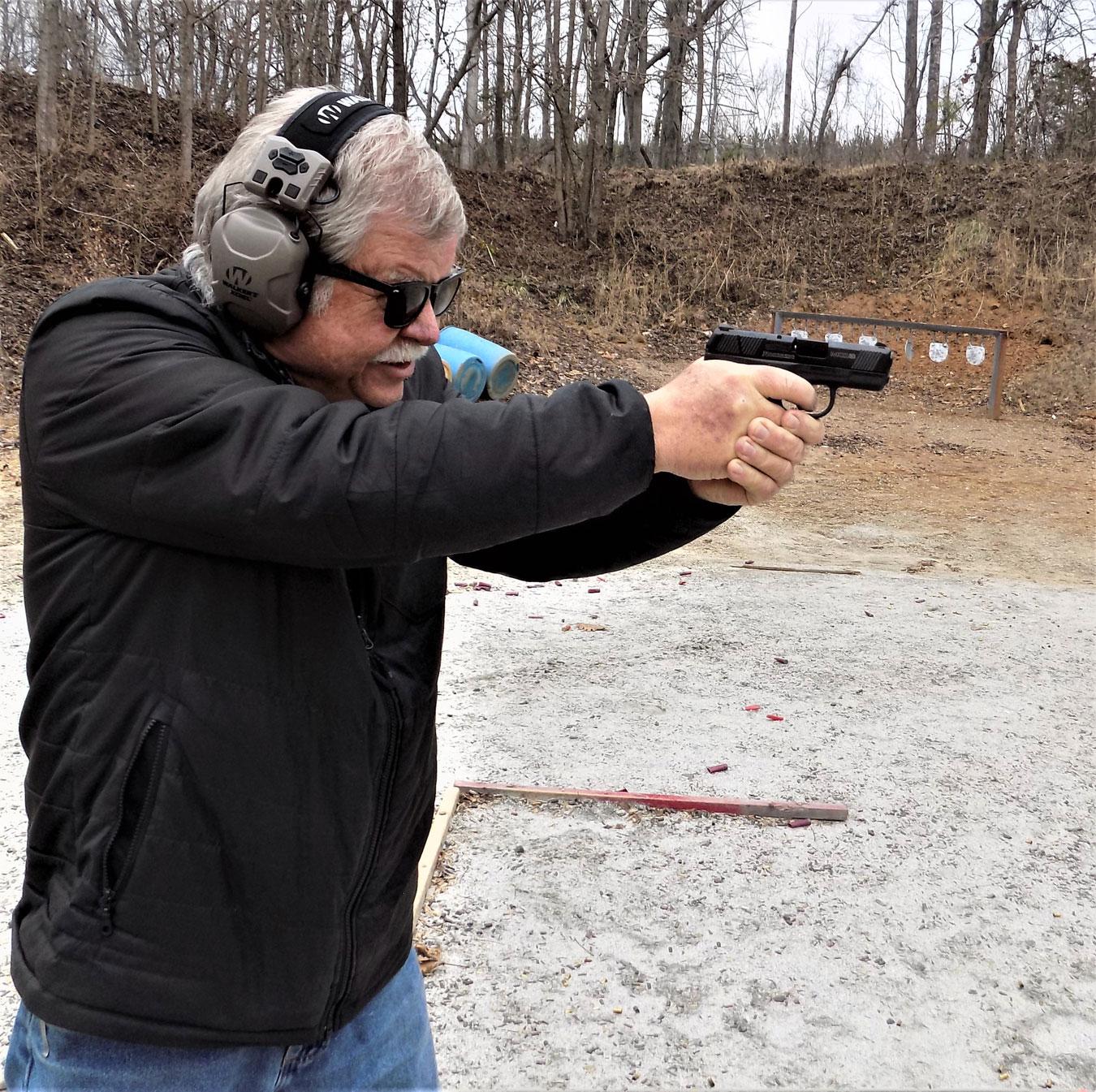 Bob Campbell shooting the Mossberg MC1 pistol