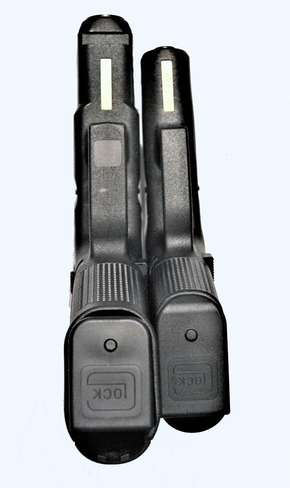 Glock M45 9mm, left, Glock 43 X, right