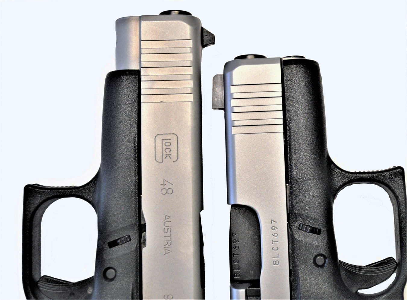 Glock 48, left and Glock 43X, right
