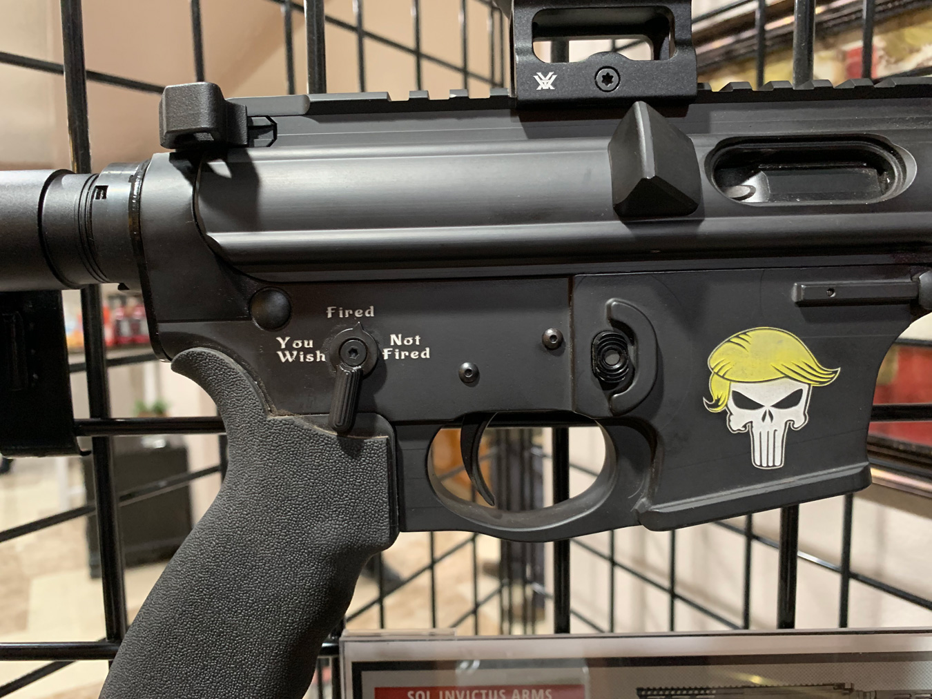 AR-15 with custom Donald Trump graphic