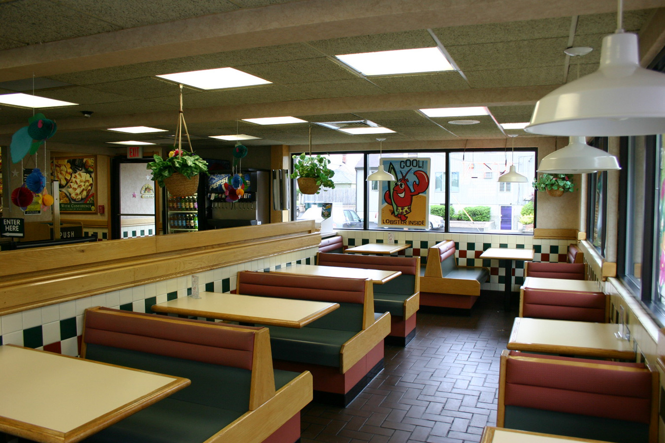 Inside of an empty diner.