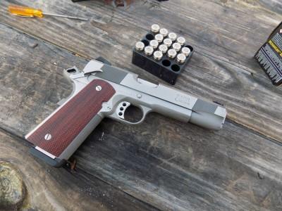 Les Baer Concept IV pistol with Remington Black Belt ammunition