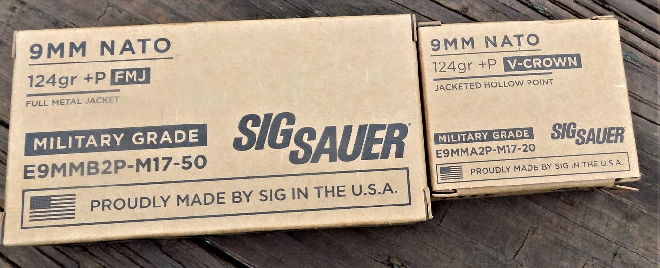 SIG V Crown JHP ammunition boxes