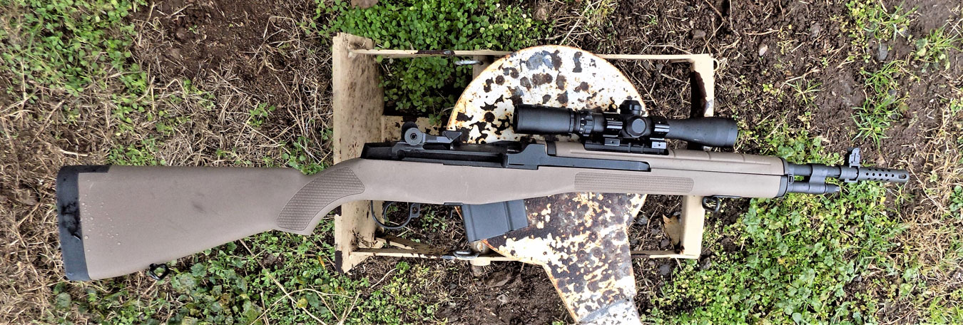 Springfield M1A rifle and steel plate