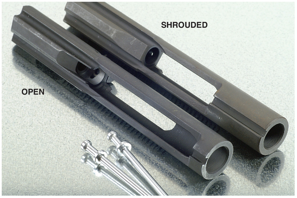 Open and shrouded AR-15 bolts