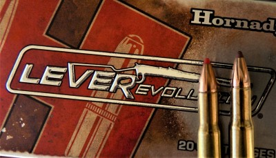 hornady LEVERevolution ammunition box with two rounds