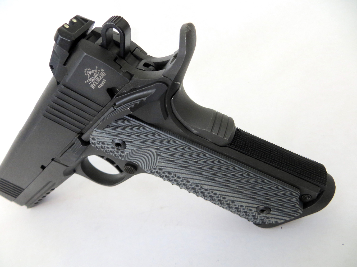 Rock Island Armory 10mm pistol with extended beavertail
